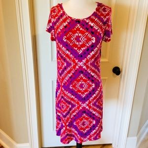 M /& L Short Sleeve Dress NWT U-Knit Pink Bandana Batik Pattern Sizes S